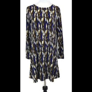 Tracy Negoshian Brown & Blue Feather A-Line Dress